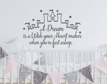 Cinderella Wall Decal - A Dream Is A Wish Your Heart Makes Wall Decal, Fairy Wall Decal Cinderella Quote Decal, Girls Nursery Room Decor K52