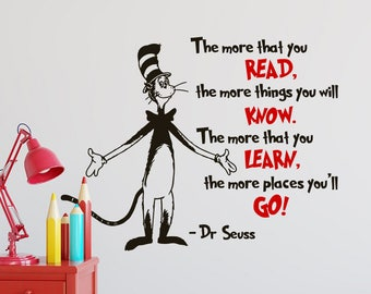 Dr Seuss Wall Decal Quote The More That You Read - Dr Seuss Wall Saying Decals, Dr Seuss Wall Art The More You Read Decals for Nursery K64