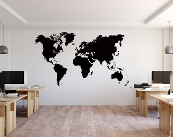 93c260a51 Large World Map Wall Decal Sticker - World Map Wall Decor