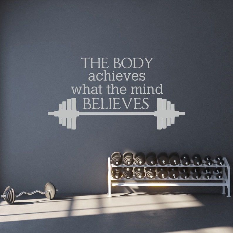 the body achieves what the mind believes wall decal | etsy
