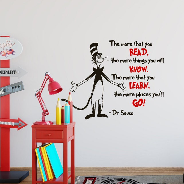 Dr Seuss Wall Decal Quote The More That You Read Dr Seuss | Etsy
