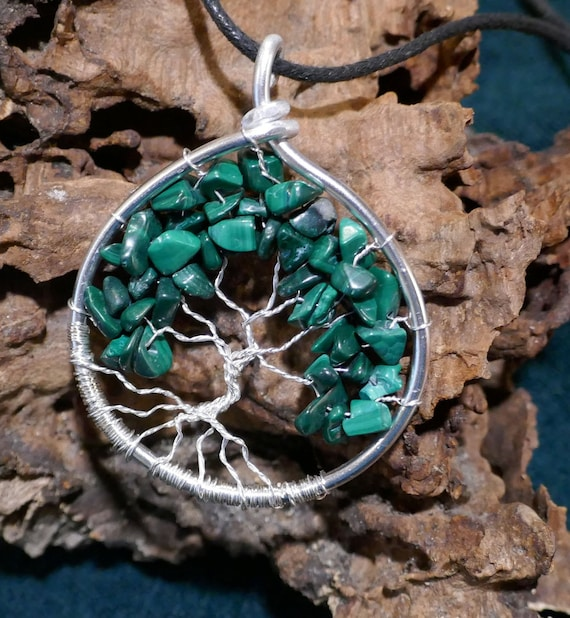 malachite Gemstone  Tree Of Life Locket Retro Silver Pendant Jewelry making