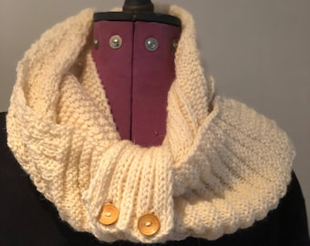 Unique Hand knitted Infinity scarf/cowl knitted in cream Aran wool using textured patterns (two pieces)
