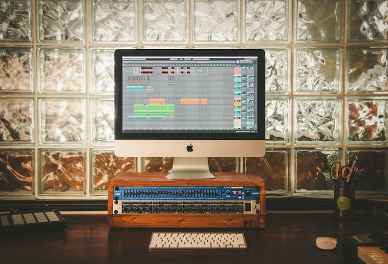 Angled desktop Audio Racks with ventilated ƒ-holes - recording studio - 2u  3u 4u 6u 8u 10u - custom woodwork - studio furniture - rackmount