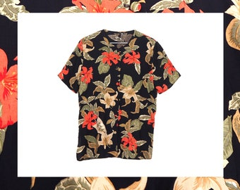 9896c927 Vintage 90s Black/Green/Orange Hawaiian Print V Neck Button Up Blouse Size  M UK 10/12