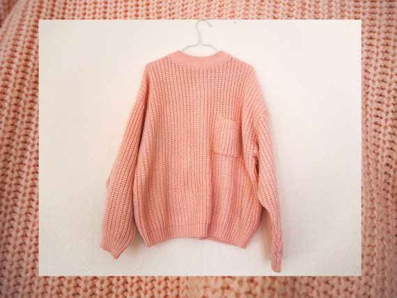 a00792361 Light Pink Chunky Knit Ribbed Sweater Jumper With Font Pocket