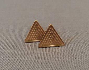 shakti - brass triangle stud earrings