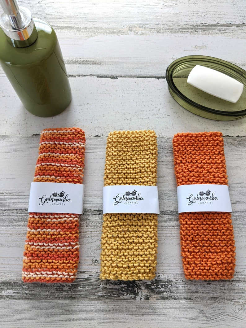 100% Cotton Hand Knit Washcloth Bundle Bath Essentials Face image 0