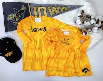 Iowa Hawkeyes cotton long sleeve tie dye 3 tier dress with bling
