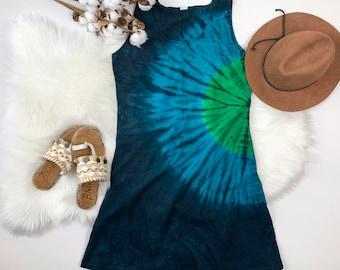 Shibori style tie dye short dress, tie dye dress, cotton dress, festival dress, summer dress