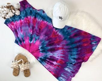 Hand dyed dress, tie dye dress, summer tie dye dress, cotton dress, festival tie dye dress