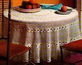 VICTORIAN SCENE circular tablecloth white cotton Vintage Pattern PDF Instant Digital Download white cotton