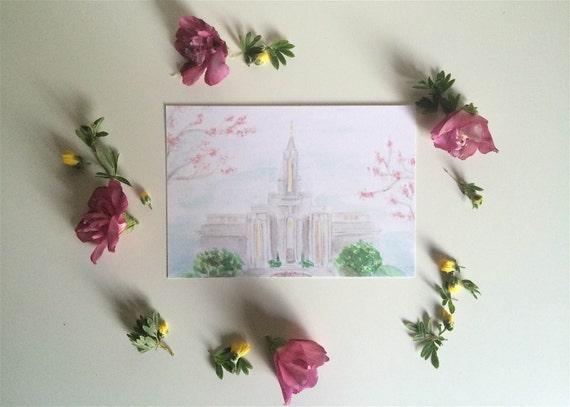 Bountiful Utah LDS templo acuarela impresión