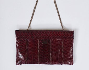 093af5dd72e Oxblood snakeskin evening bag, Vintage snakeskin purse, red snakeskin purse,  maroon snakeskin purse bag, snakeskin bag, snakeskin clutch,