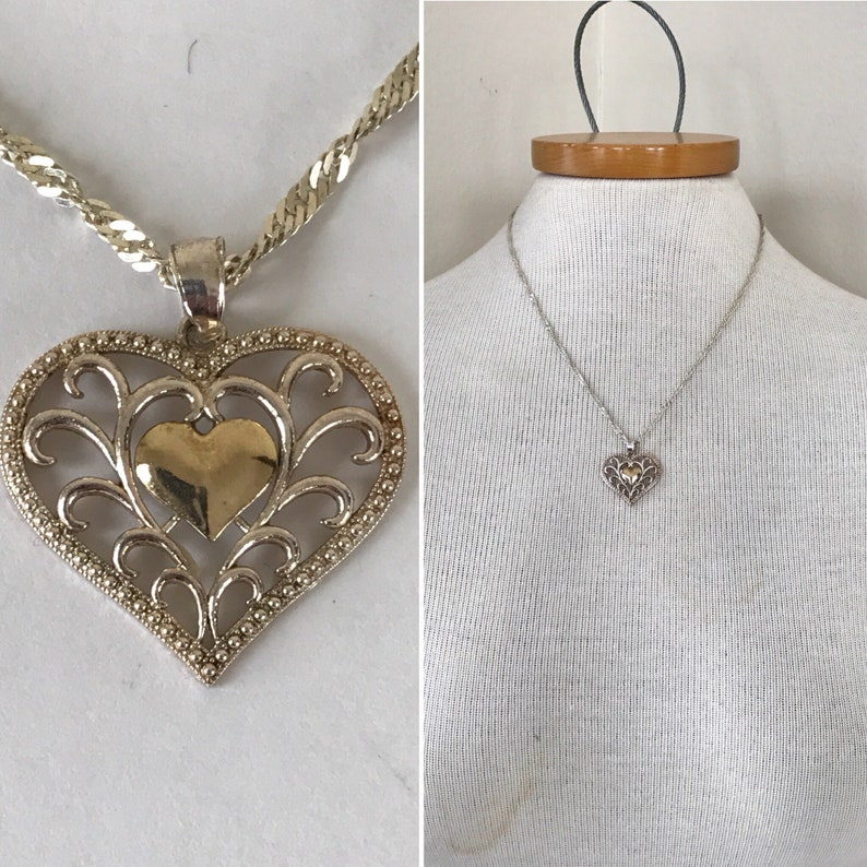 925 gold plated HEART necklace, gold and silver heart necklace, stamped  italy jewelry, italian silver, italian gold, filigree heart jewelry