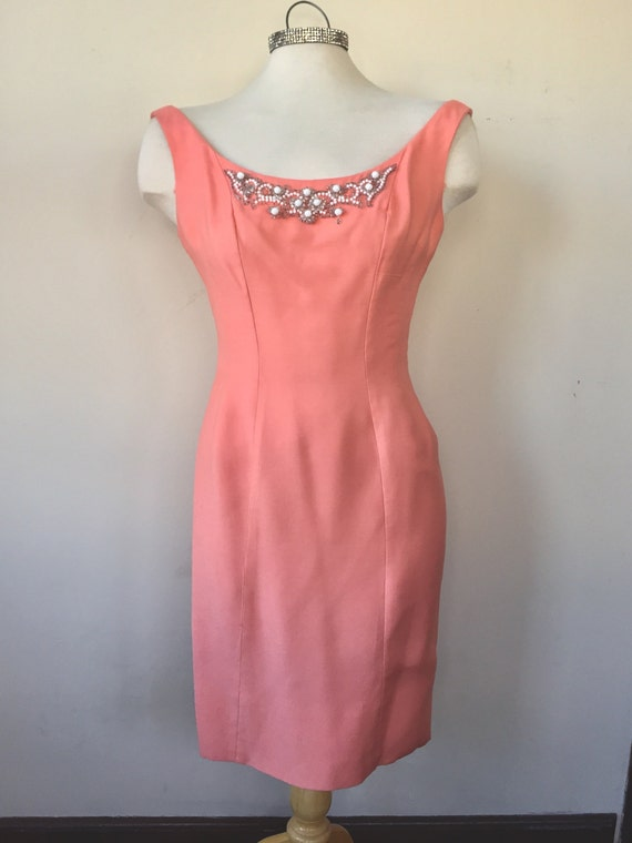 1950s peach sheath dress, beaded embroiderdetail, 50s formal dress, special occasion,