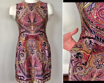 Nanette Lepore damask sheath Dress with Pockets, size 4, silk, shift dress