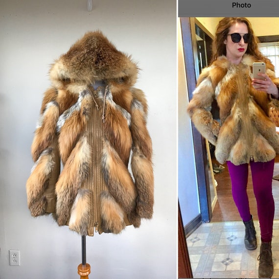 Vintage red fox fur jacket with hood, chevron fur