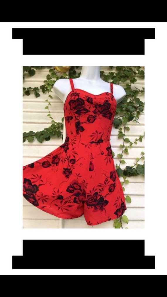 red floral romper, free people, vintage romper, 90