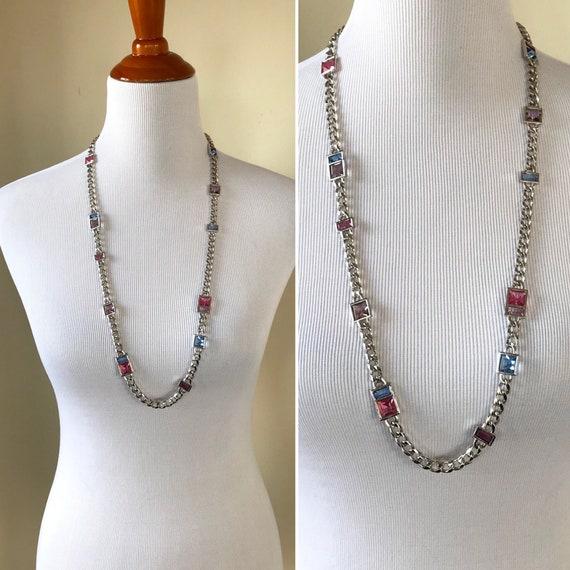 YSL Crystal necklace, Yves Saint Laurent, glass ne