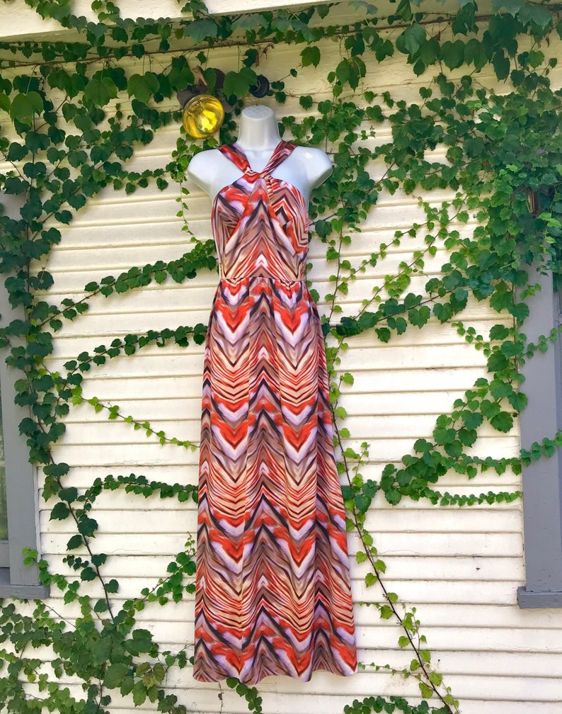 322b97eca851 Vintage chevron gown antonio melani vintage orange gown | Etsy