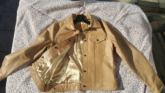 90s GUESS JEANS Leather Jacket / 90s tan leather j