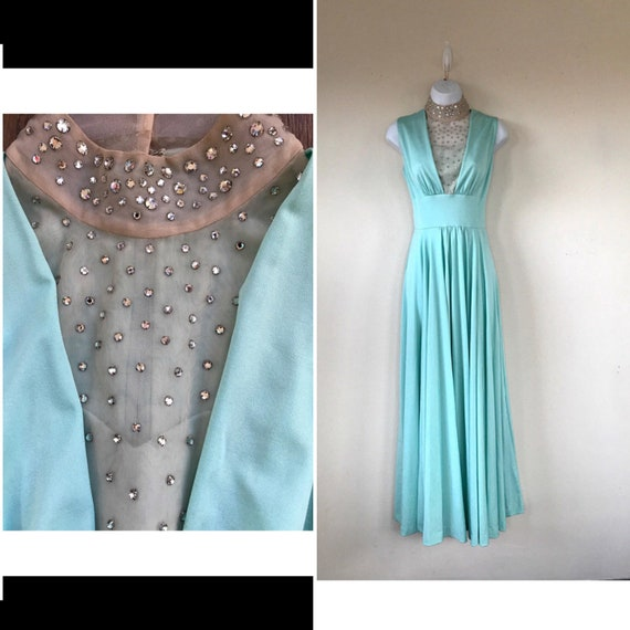 Aquamarine Crystal Gown, rhinestone gown, sea foam