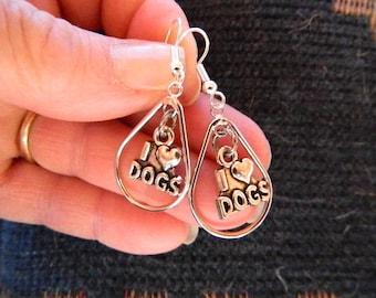 I Love Dogs Earring, Silver teardrop,