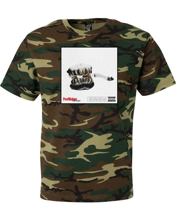 9c1b70ff5f50a Post Malone Go Flex Camouflage T Shirt Hip Hop Rap Short
