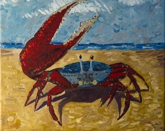 "ORIGINAL OIL PAINTING Fiddler Crab 12""x12"""