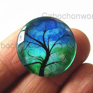 Colorful Magic Tree Cabochon Circle Handmade Photo Glass Round Dome Flat Back 8mm 10mm 12mm 14mm 16mm 18mm 20mm 25mm 30mm CW571