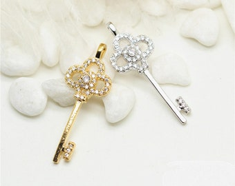 10 Tiny Lucky Key Charm Pendant Rhinestone Embellishment Dainty 14K Gold Filled Delicate Jewelry finding 18x12mm