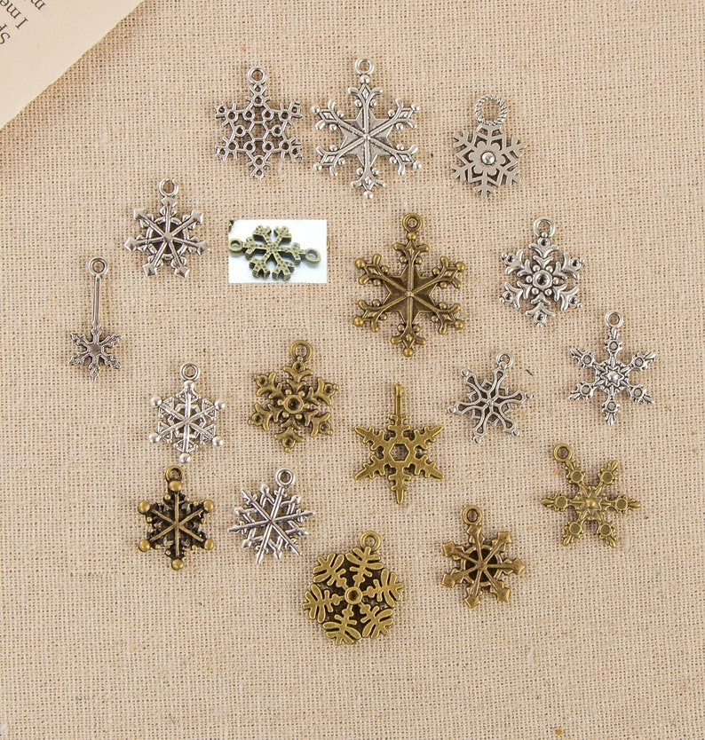 Bulk 120 Snowflake Charm Pendant Collection Antique Silver Bronze Drop Handmade Jewelry Finding