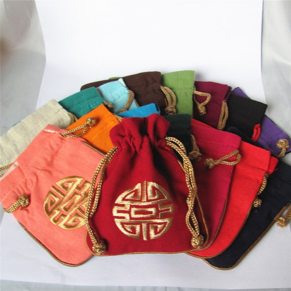 Bulk 50 Cotton /& Linen Print Rosary Bag Pouch Pocket Money Coin Bag Drawstring Mojo Grab Amulet Bag Traditional Packaging for Jewelry Gift
