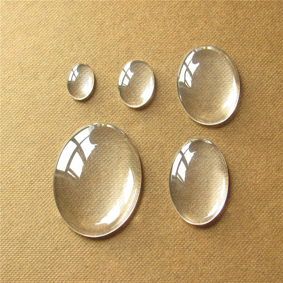 10 CLEAR OVAL CABOCHON GLASS DOME SEALS 40x30mm