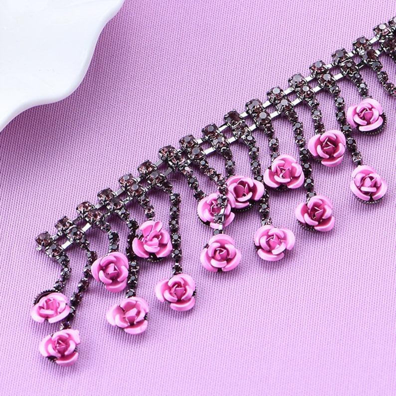 Roses /& Glitter Rhinestone Claw Chain Silver Trim Metal Cup Close Chain Handmade Jewelry High Quality Wedding Veil Finding 20mm