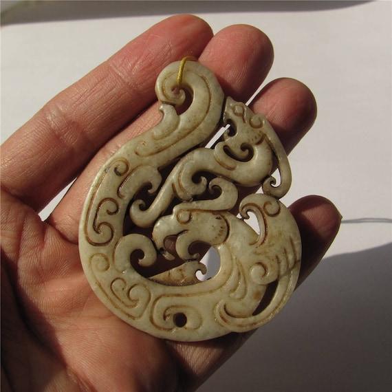 Antique Hollow Carved Vintage Double Loong Dragon Fu Lu \u798f\u7984 Jade Pendant Unique Jade Amulet Talisman Handmade Jewelry Finding 65mm