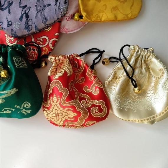 Set Of 6 Colorful Chinese Silk Pouches Pocket Money Coins Bags Etsy