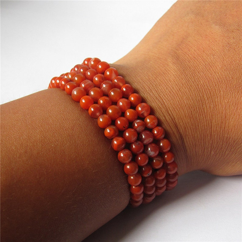 Infinity 4 Rowed Natural 5mm Chinese Nanhong Carnelian Onyx Agate Elastic Bracelet 27 inches Long Necklace Beautiful Jewelry
