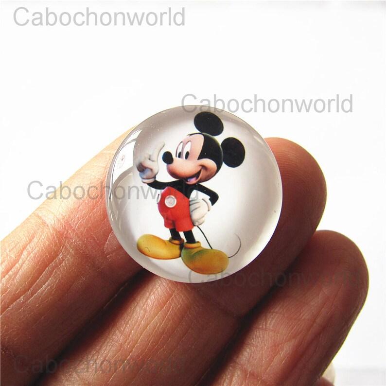 Mickey Mouse Cabochon Circle Handmade Photo Glass Round Dome Flat Back 8mm 10mm 12mm 14mm 16mm 18mm 20mm 25mm 30mm CW764