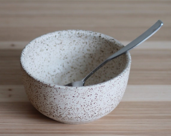 white cereal bowl, rustic bowl, ceramic bowl, pottery bowl, small bowl, white speckled bowl