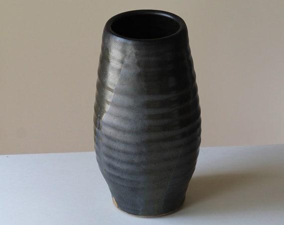 hand thrown vase, ceramic vase, pottery vase, large vase, black vase, large black vase, mid-century inspired vase, rustic vase