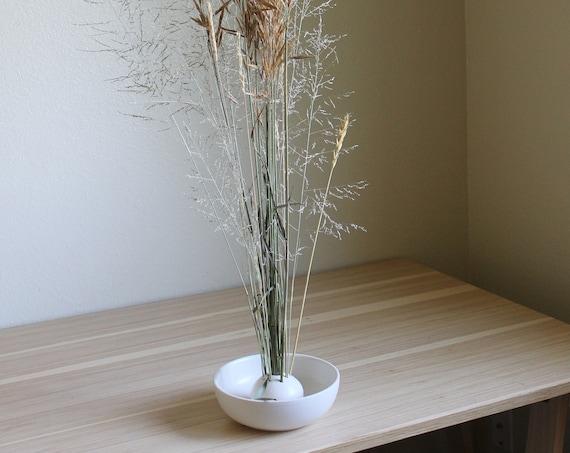 Ikebana bowl, ceramic vase, vase, white vase, shallow vase, farmhouse decor, hand thrown bowl, hand thrown vase