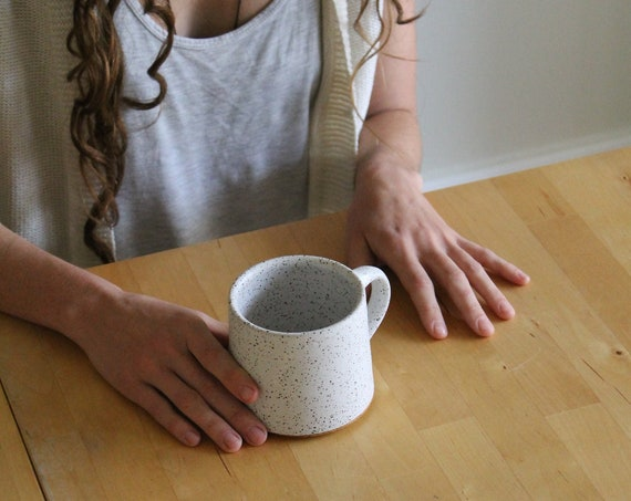 Speckled White Mug, ceramic mug, white mug, coffee mug, speckled white mug, pottery mug, hand thrown mug, handmade mug
