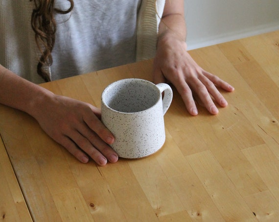 ceramic mug, coffee mug, tea mug, handmade mug, hand thrown mug, white coffee mug, white mug, rustic mug, speckled white mug