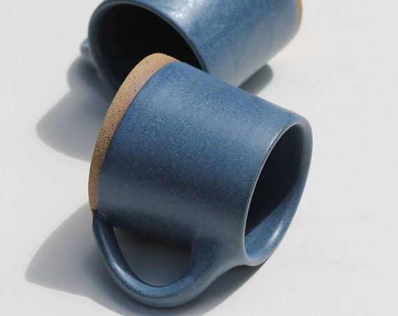SET OF 2 Matte Blue Mugs