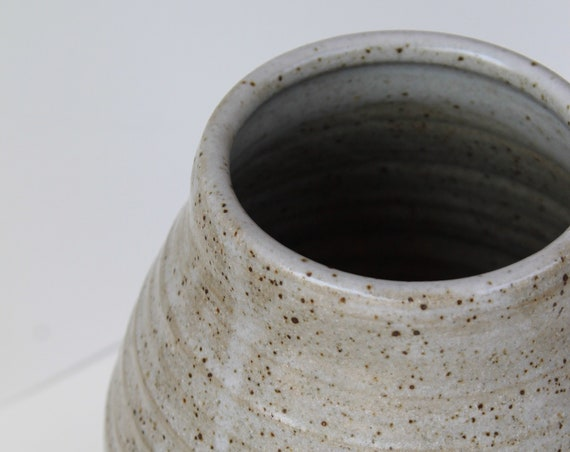 vase, large vase, farmhouse vase, rustic vase, speckled white vase, hand thrown vase