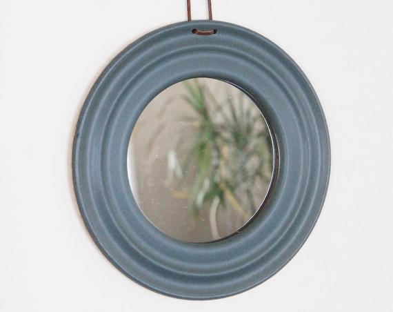 blue mirror, ceramic mirror, round mirror, circle mirror, handmade mirror
