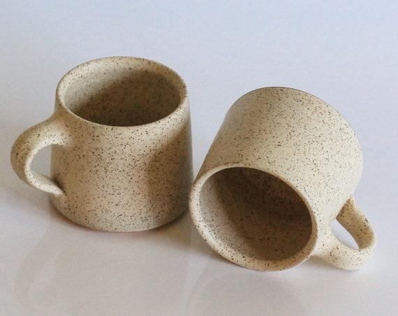 SET OF 2 Beige Mugs, coffee mug, tea mug, mug, ceramic mug, pottery mug, mid century modern mug, bohemian mug, rustic mug