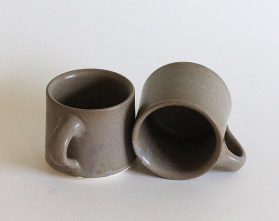 SET OF 2 coffee mugs, Brown Mug, Tea Mug, Hand thrown Mug, Pottery Mug, Handmade Mug, Ceramic Mug